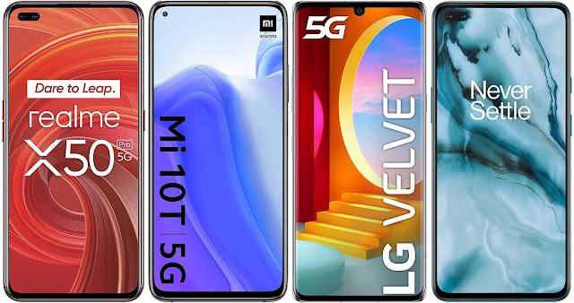 Realme X50 Pro vs Xiaomi Mi 10T vs LG Velvet 5G vs OnePlus Nord