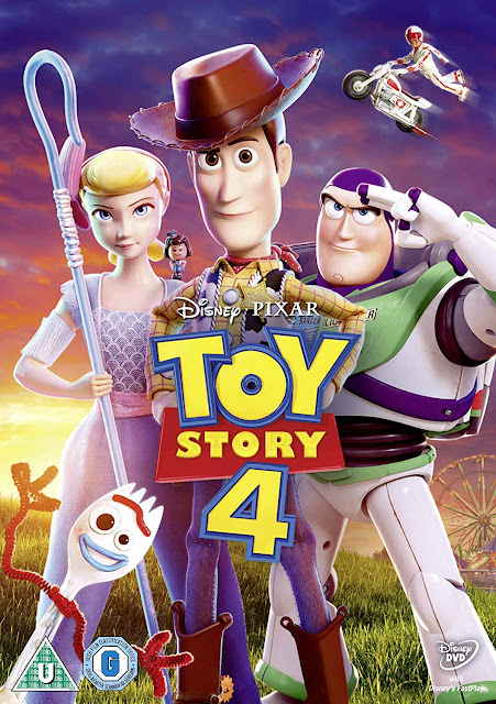 Toy Story 4 Movie Review and DVD Giveaway Pack shot with title and characters smiling