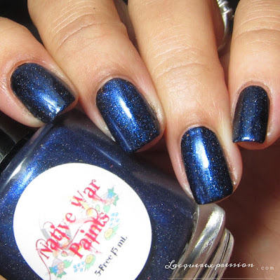 nail polish swatch of Midnight at Lake Michigan by Native War Paints (swatched over black)