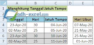 menghitung tanggal jatuh tempo dengan hari sabtu dan minggu libur