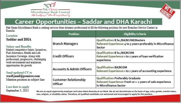 Pak Oman Microfinance Bank Ltd Jobs 2021 | Free Online Apply