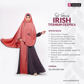 Koleksi Gamis Syari Muslimah Irish Titanium Deep Sea Series Set Syari by AULIA Fashion