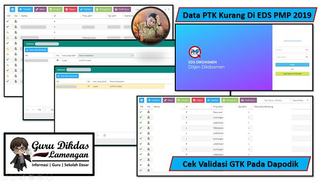 Data PTK Kurang Di EDS PMP 2019, Cek Validasi GTK Pada Dapodik