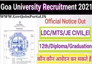 Goa University Vacancy 2021