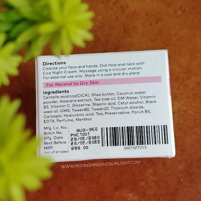 Ingredients in CICA night cream