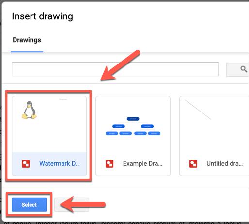 حدد صورة رسومات Google المحفوظة وانقر على تحديد لإضافتها إلى مستند مستندات Google