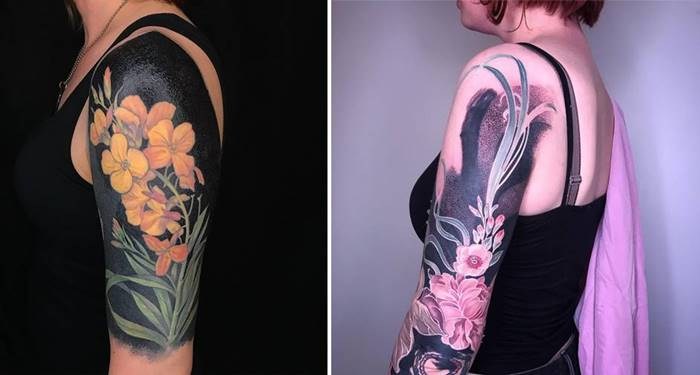 Floral Tattoos on a Black Background