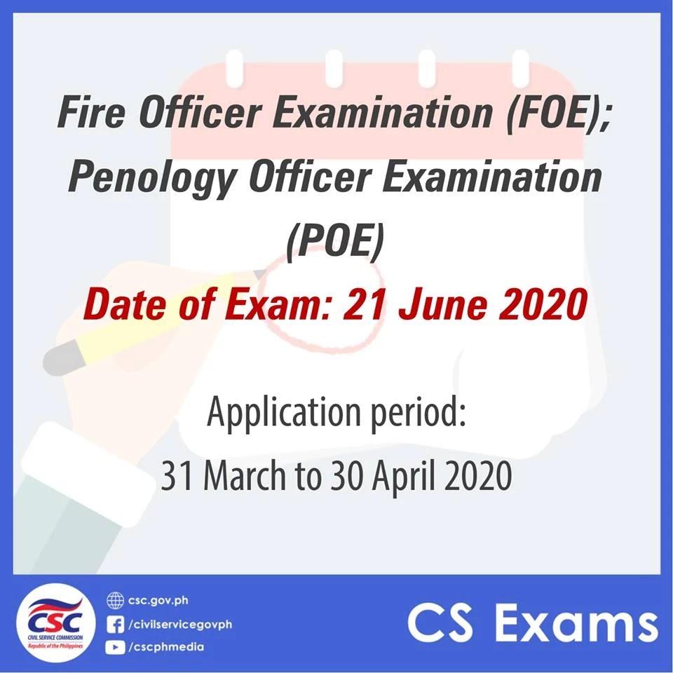 2020 Fire Officer Examination (FOE) and Penology Officer Examination (POE)