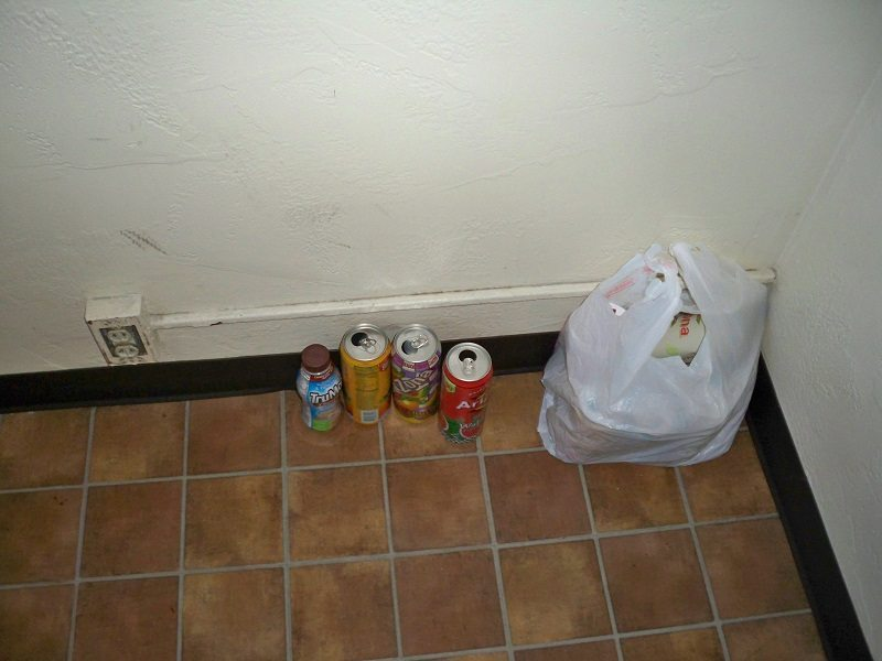 My used aluminum cans on the floor of the Frontier Motel