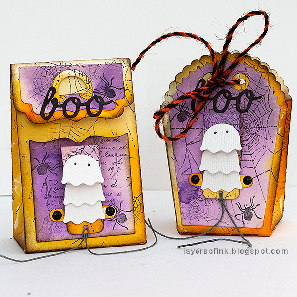 Layers of ink - Waterfall Video Tutorial by Anna-Karin Evaldsson, Halloween gift bags.