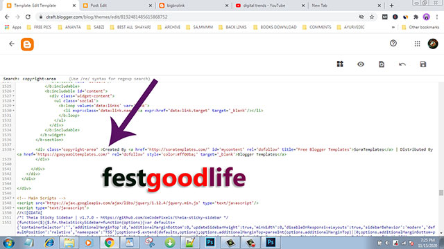 BLOGGER TEMPLATE FOOTER CREDIT