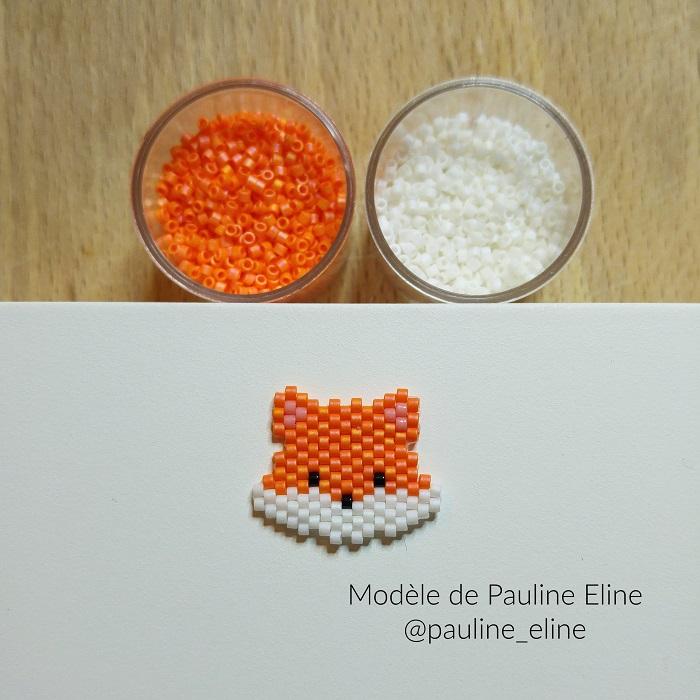 renard pauline eline, tissage brickstitch, perles delicas miyuki, hellocestmarine
