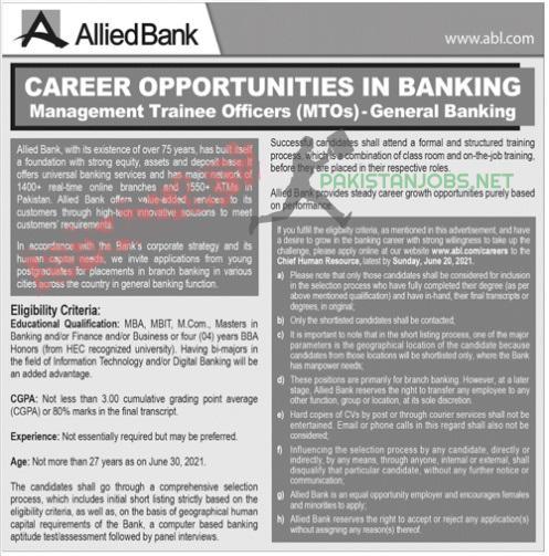 Allied Bank Jobs Latest 2021