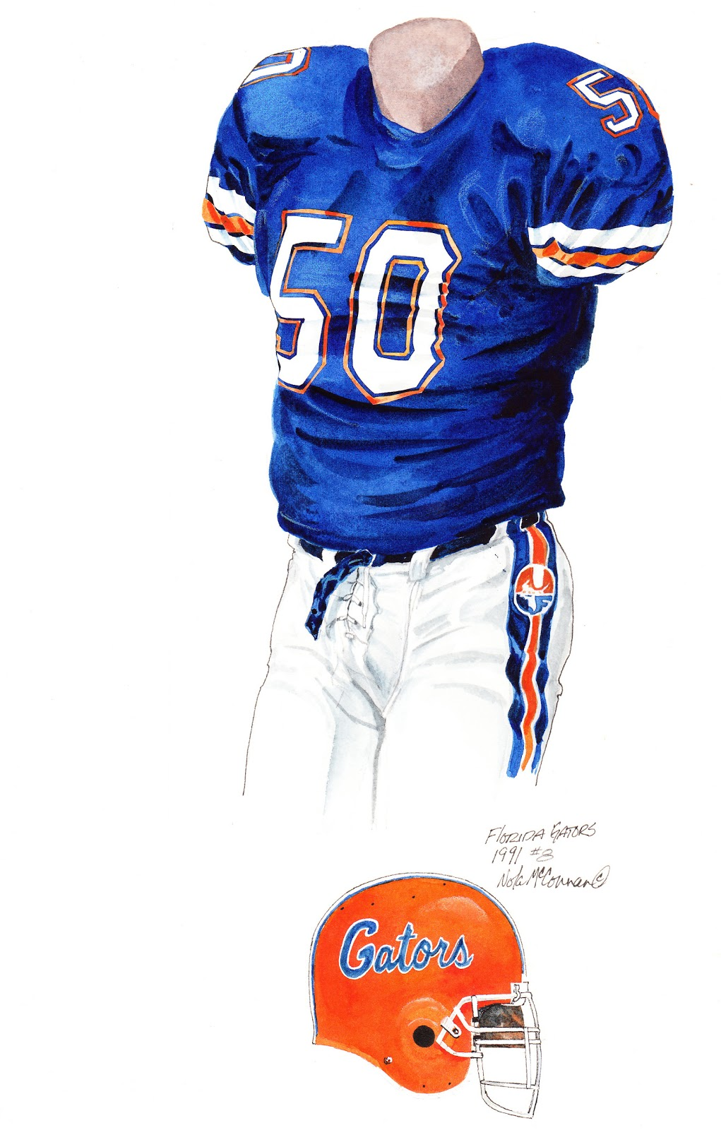8cf192e20 1991 University of Florida Gators football uniform original art for sale
