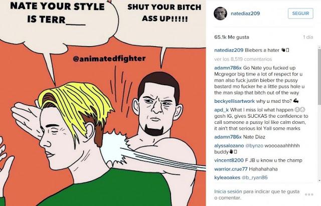 Justin Bieber critica a Nate Díaz