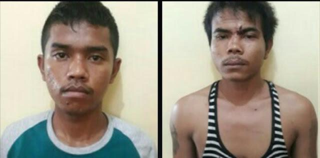 Dua tersangka pelaku pencurian handphone di Siantar.
