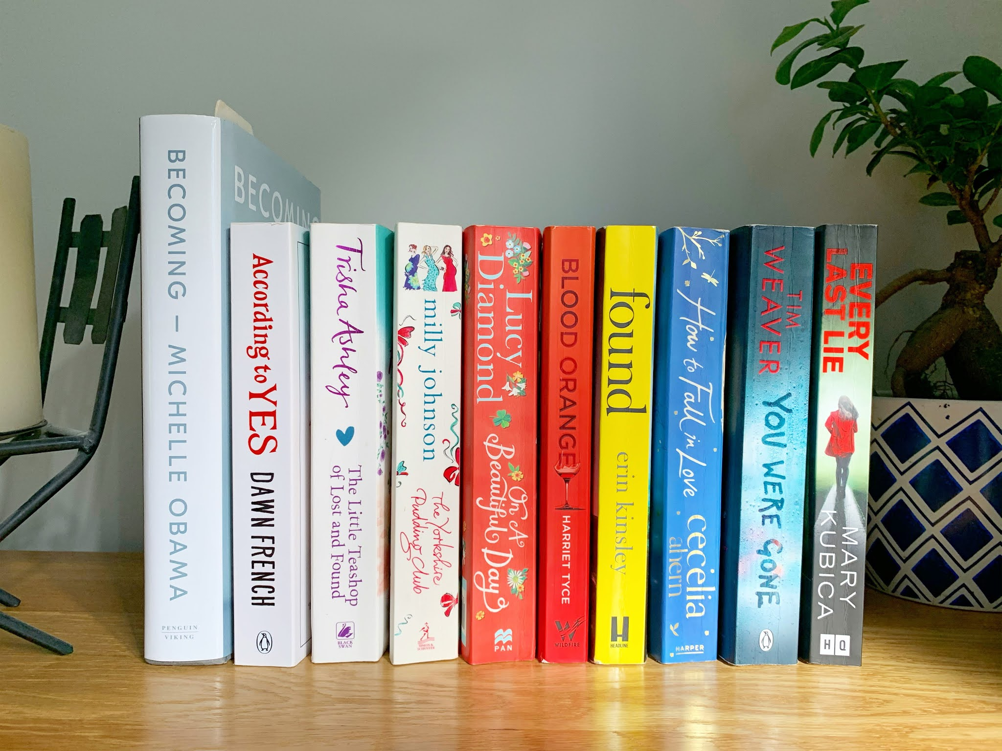 10 books on a shelf