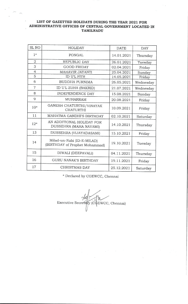 Holiday 2021 list of Tamilnadu Circle