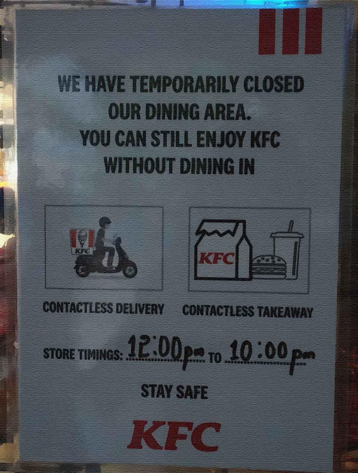 Social Distancing Message KFC