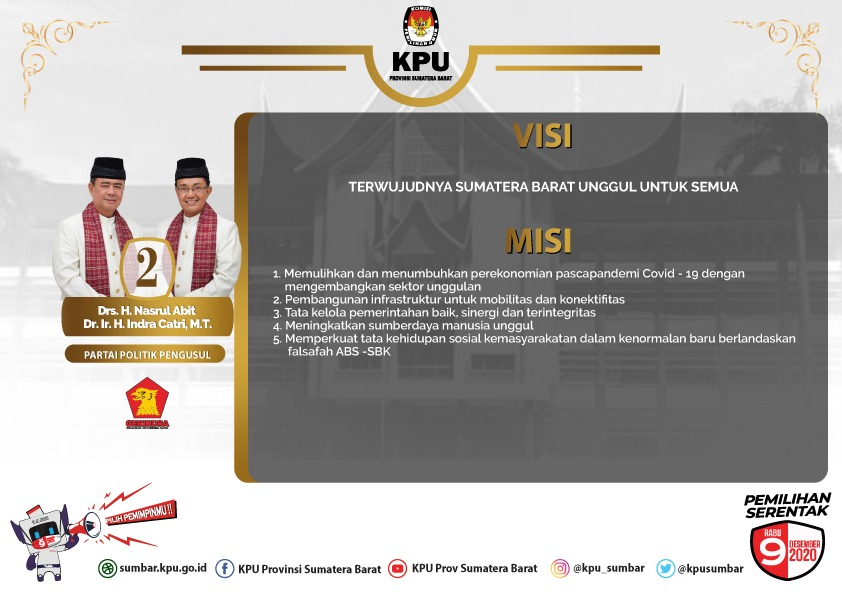 Infografis: Visi Misi Pasangan Calon Gubernur dan Wakil Gubernur Provinsi Sumatera Barat