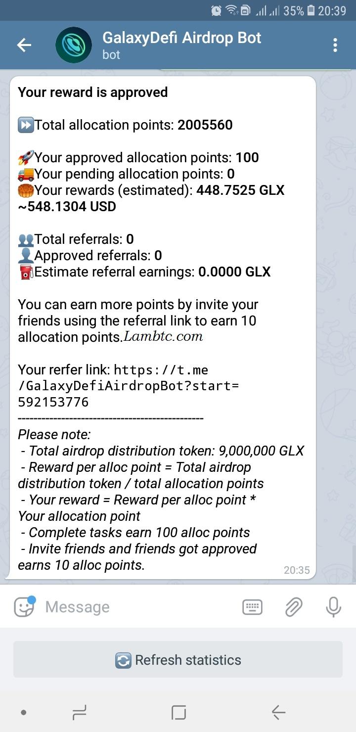 Get airdrop reward