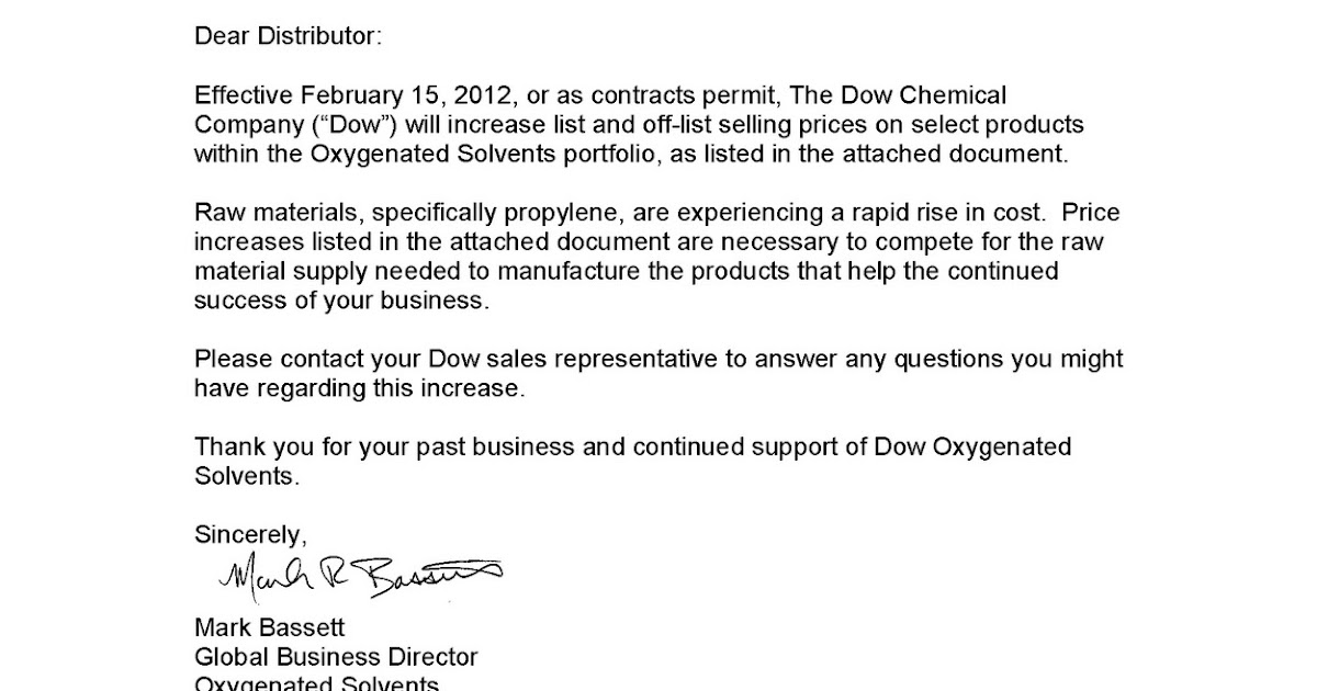 how to announce a price increase to clients chemical market info from rcu chemical llc dow price 28941 | Pages from Dow Feb 15 Price Notification US Dist1