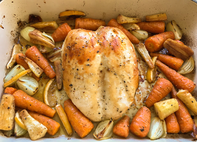 Food Lust People Love: A bone-in chicken crown roasts to perfection after a 1 hour 45 minutes sous vide. Succulent and tender, it carves wonderfully into delectable slices. Serve with onions, carrots and/or parsnips for a complete meal.
