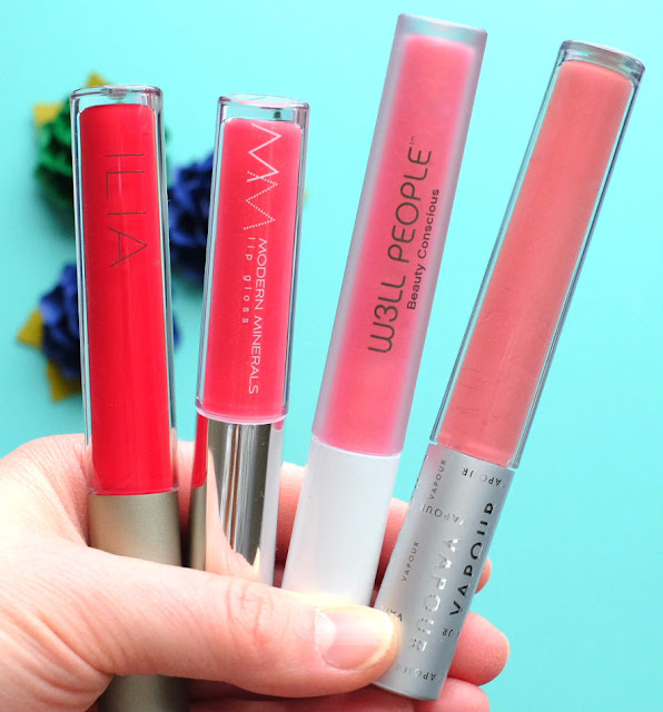 Lip glosses from Ilia Beauty, Modern Minerals, W3ll People, and Vapour Beauty