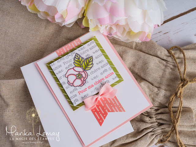 carte avec technique de masquage et jeu d'étampes kit cartes Douces notes Stampin' Up!