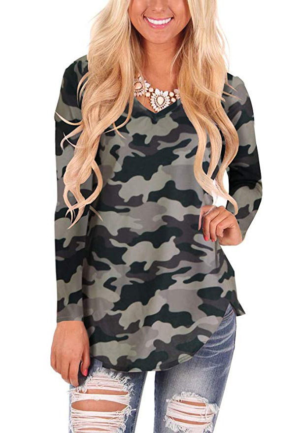 WFTBDREAM Womens Casual Curved Hem Long Sleeve T Shirt V Neck Side Slit Blouse  - camogrey