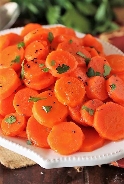 Honey Glazed Carrots in Serving Dish Image