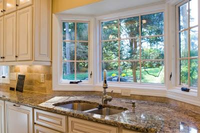 kitchen design with bay window
