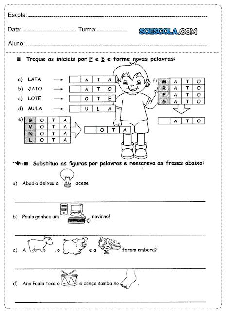 Acabo de receber algumas Atividades para alfabetização de português, espero que vocês gostem.
