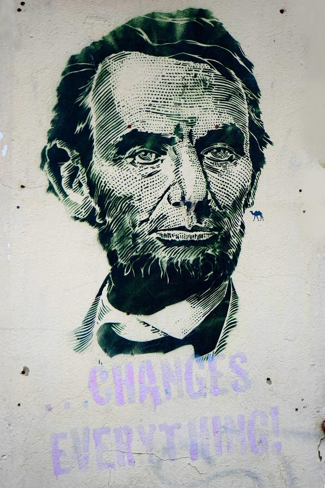 Le Chameau Bleu - Street art Berlinois - Abraham Lincoln