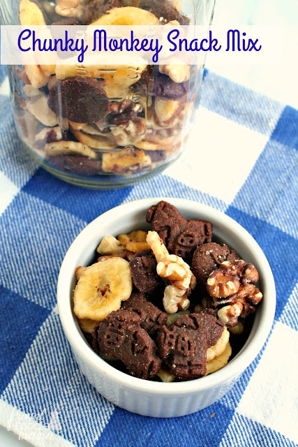 This Chunky Monkey Snack Mix is a crunchy mix of whole wheat chocolate grahams, organic banana chips, & satisfying walnuts. It is sure to quickly become a lunchbox & after school snack favorite.
