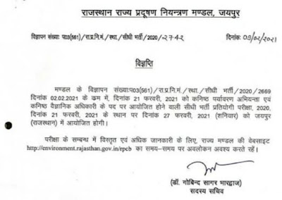 Rajasthan State Pollution Board Recruitment 2021