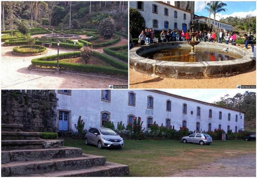 Santuário do Caraça - jardim em estilo francês e estacionamento