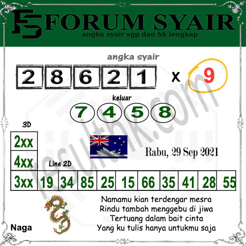 Forum syair Sidney Rabu 29 September 2021
