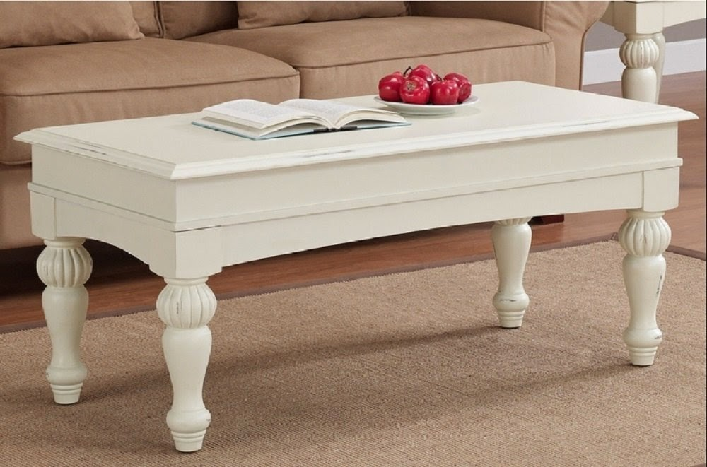Vanilla Wasatch antique white coffee table - Antique Coffee Table: Antique White Coffee Table
