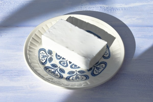 feta on a tea plate