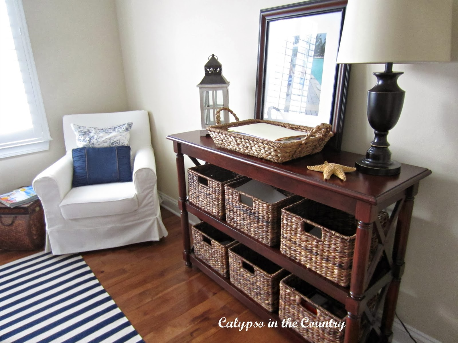 Pier One Shelf and Pottery Barn Baskets - newest addition to home office