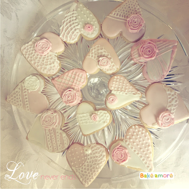 valentine heart shaped cookies in pink and white