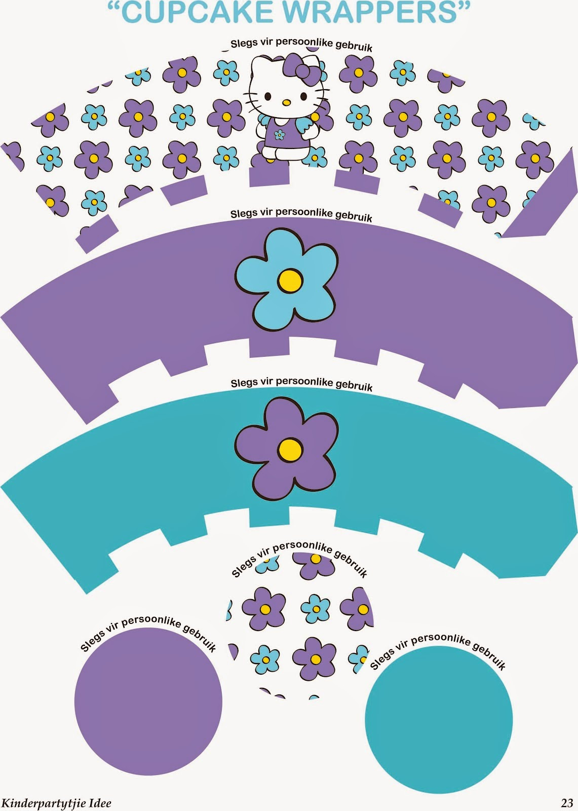 hello kitty cupcake topper template - hello kitty in light blue and lila free printable mini