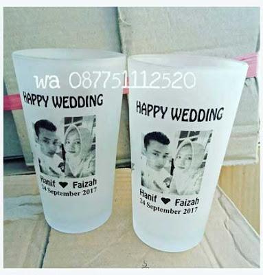 SOUVENIR GELAS HAPPY WEDDING CANTIK