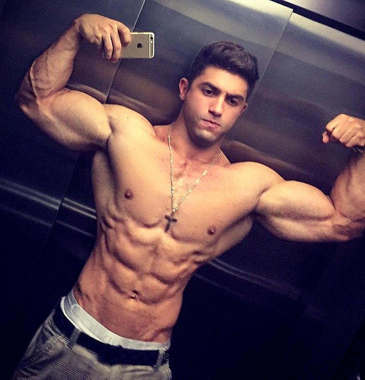 shirtless-sexy-muscle-jock-college-frat-bro-douchebag-huge-masculine-veiny-biceps-flexing-sixpack-abs-elevator-mirror-selfie