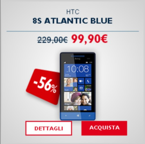 TIM Outlet vende HTC 8S a 99.90 euro smartphone windows phone 8