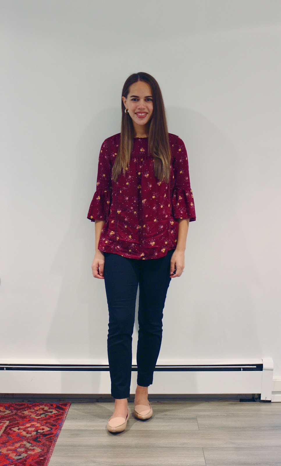 Jules in Flats - Lightweight Ruffle Trim Flower Print Top (Business Casual Workwear on a Budget)