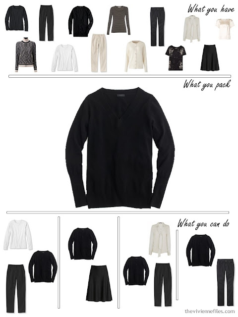 adding a black sweater to a black, white and beige travel capsule wardrobe