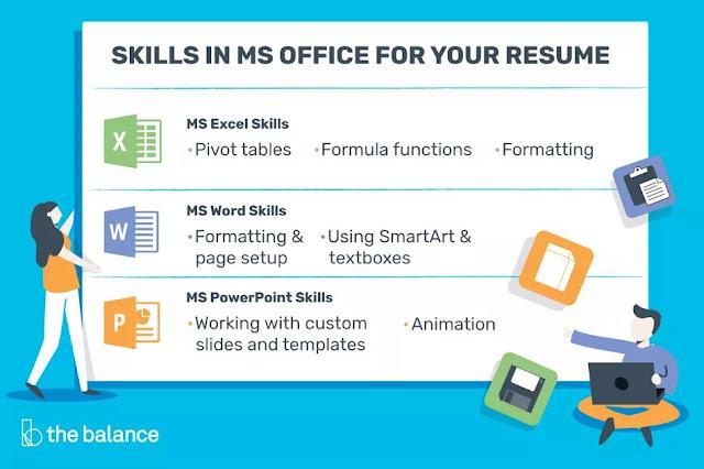 Menulis Skill Microsoft Office di Resume
