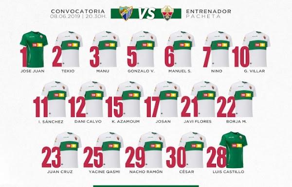 Elche, 18 convocados ante el Málaga